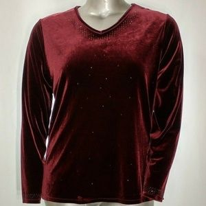 Jaclyn Smith Burgundy Velvet Sequin V-Neck Top 1X